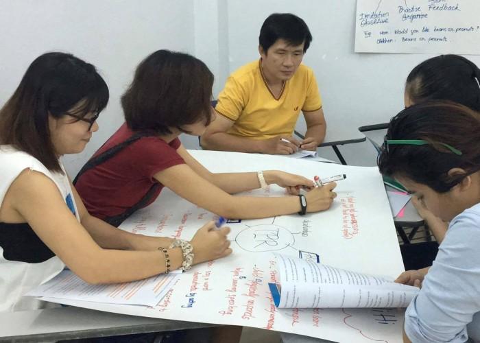 Các bạn học sinh đang thảo luận theo nhóm để tạo poster thuyết trình