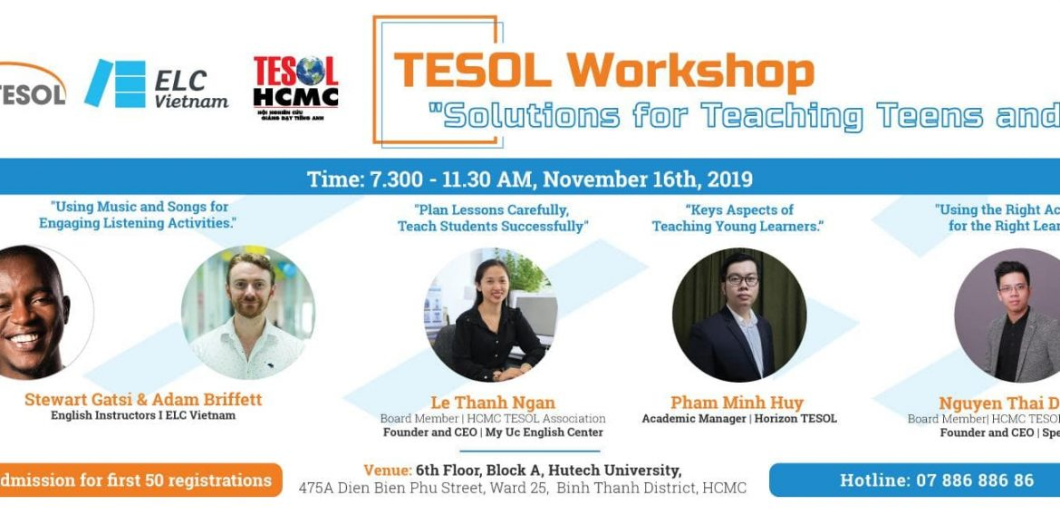 """Invitation to TESOL Workshop – """"SOLUTIONS FOR TEACHING TEENS AND YLs"""" on November 16th, 2019"""