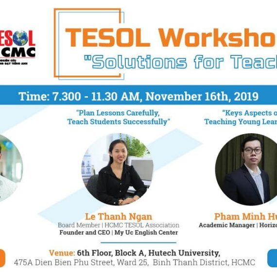 "Invitation to TESOL Workshop – ""SOLUTIONS FOR TEACHING TEENS AND YLS"" on November 16th, 2019"